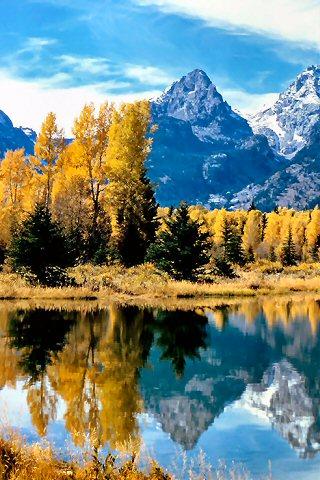 Teton National Lake iPhone Wallpaper
