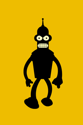 Angry Bender Silhouette iPhone Wallpaper