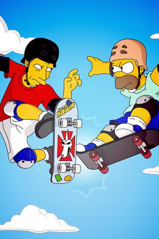 Tony Hawk x Homer Simpson iPhone Wallpaper