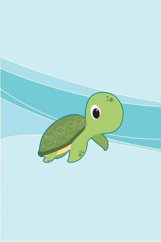 Vector Baby Turtle iPhone Wallpaper