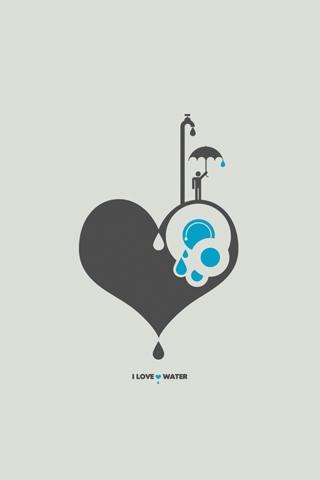I Love Water Vector iPhone Wallpaper