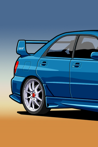 Subaru Impreza Wrx Sti Vector Iphone Wallpaper Idesign Iphone