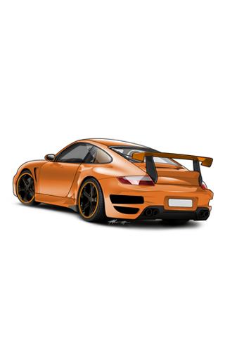 Orange Porsche 911 GT Vector iPhone Wallpaper