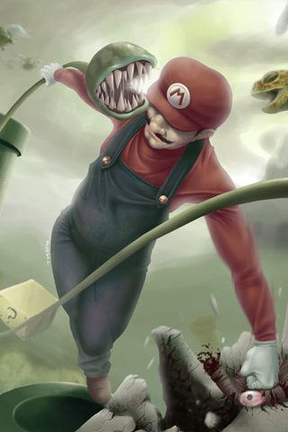 Super Mario Bros. Painting iPhone Wallpaper