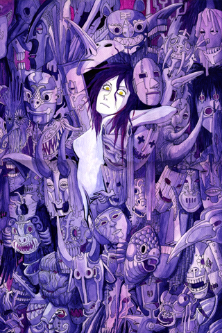 Purple Faces iPhone Wallpaper