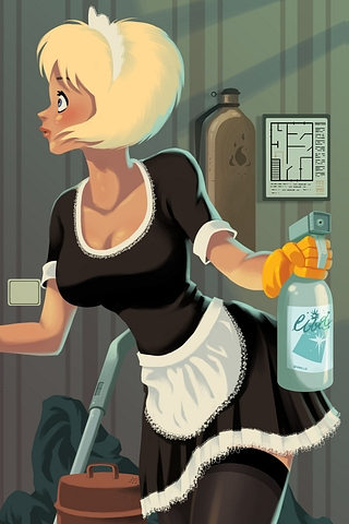 Cartoon Maid iPhone Wallpaper